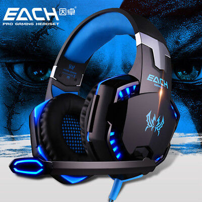 G2000 Spiel Gaming Kopfhörer Headset mit Mikrofon LED Surround Sound Stereo Bass
