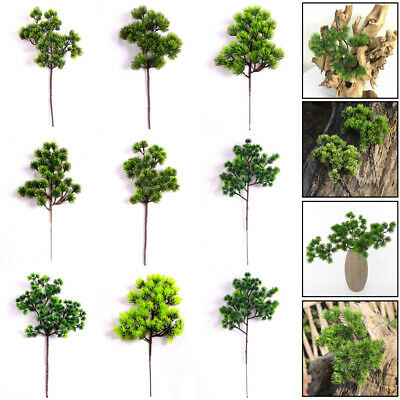 Artificial Pine Branch Fake Green Plant Simulation Potted Pine Tree Bonsai ~