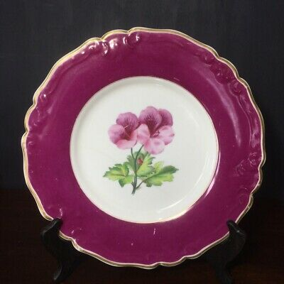 Early Royal Worcester plate, flower & claret border, 1852-62