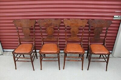 4 Antique Victorian Oak Pressed & Spindle Back Dining table chair Chairs