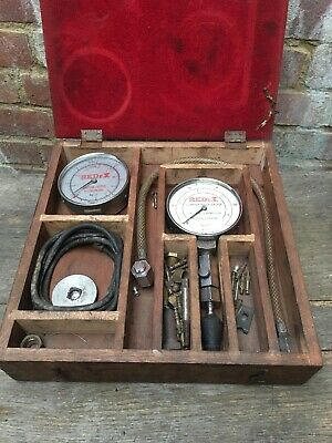 Vintage REDeX Compression Gauge & Engine Tester Kit & Original Box Brass Plate