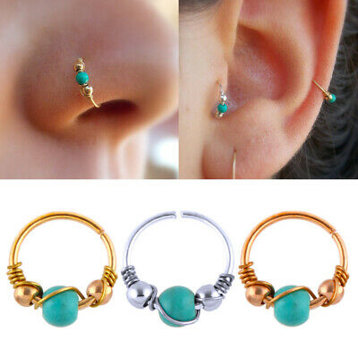 2 Nose Ring Blue Turquoise Cartilage Helix Lip Earring Hoop Ear Cuff BodyJewelry