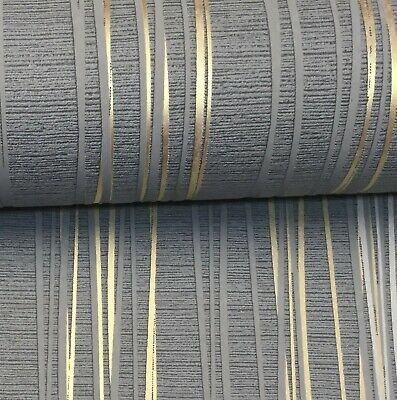 Ugepa Charcoal Grey Gold Metallic Stripe Textured Blown Vinyl Wallpaper 18633-30