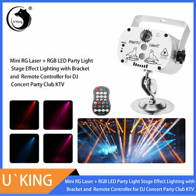 Mini RGB LED Laser Projector DJ Party Stage Lighting Remote USB Charge Show Car