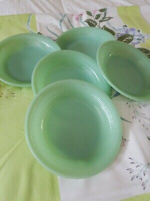 Fire King Jade-Ite Jadite Green Jane Ray Soup Plate Bowls