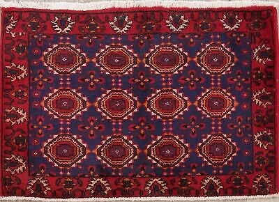 Geometric Tribal Balouch Afghan Area Rug Oriental Hand-Knotted Navy Carpet 2x3