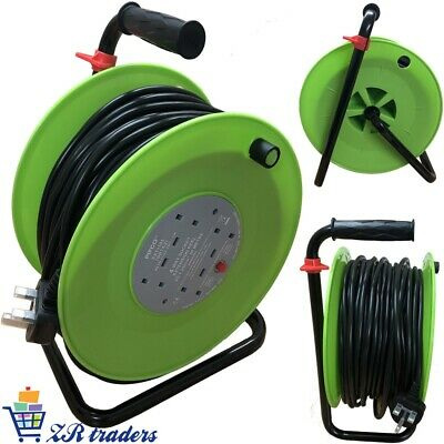 50M Meter Extension Reel Lead Cable 4 Way Electric Socket Heavy Duty Safe New