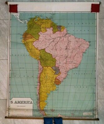Antique Large Pull Down School Map Circa 1935 South America Linen Backed