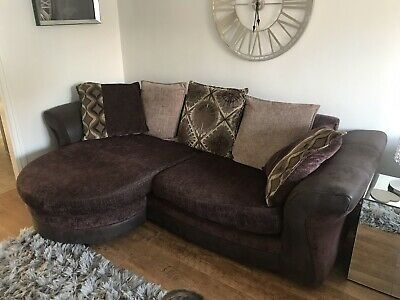 DFS LARGE 4 Seater Sofa And Cuddler Chair 2 Seater Swivel Seat USED