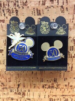 LOT OF 2 DISNEYLAND 50th ANNIVERSARY PINS: TINKERBELL, MOUSE EARS GOLDEN NEW B-3