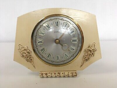 BENTIMA Vintage Cream Painted Wood Mantel Clock Wing Up Gold Silver Face 40s