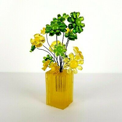 Vintage Lucite Flower Bouquet Resin 60s 70s Green Mod Pop Yellow Colorflo