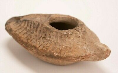 Antique Primitive Ceramic Red Clay Byzantine Period Oil Lamp