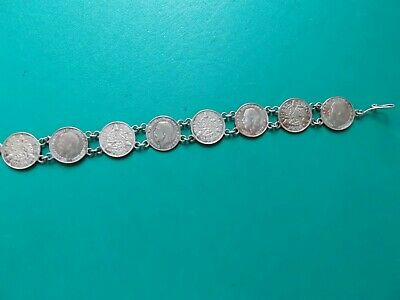 Antique silver three pence coin bracelet metal detecting detector finds