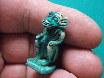 Rare Ancient Egyptian Faience Blue Animal Amulet 300 Bc