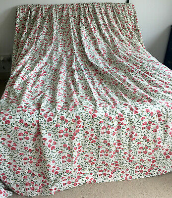 Pair Huge Laura Ashley Fabric Curtains Sweet Pea Floral Lined Wide & Long