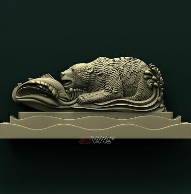 3d STL Model Relief for CNC Router _ Fishing Bear _0126