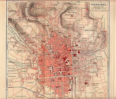 1895 Antique Original Lithopraph Print Meyers MAP PLAN WIESBADEN GERMANY Streets