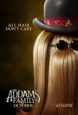 THE ADDAMS FAMILY cartoon film (2019) COUSIN IT poster - glossy A4 print