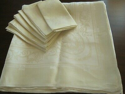 Quality Vintage Yellow Double Damask Reversible Yellow Tablecloth & 6 Napkins