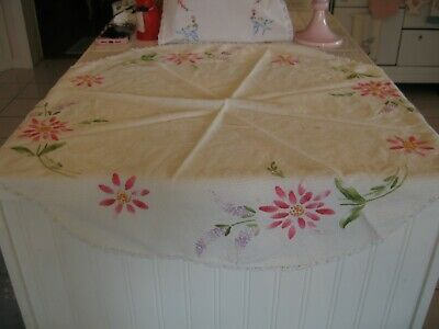Cute Vintage Embroidered Round Table Topper Doily With Pink Flowers & Lilacs