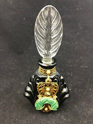 Rare 1930s CZECH ART DECO PERFUME BOTTLE Black w/brass trim  MALACHITE dauber