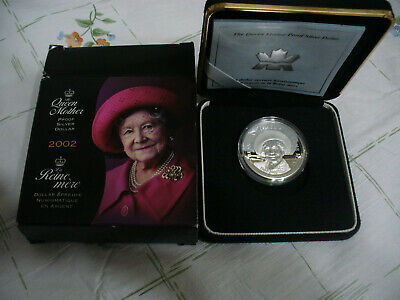 2002  Queen Mother   Proof Silver Dollar  Canada 1 $  Coin  .925   Silver