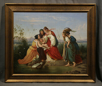 Religious Antique19th Century Painting Moses in the Reeds Anonimous Artist
