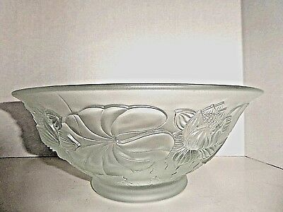Vintage Barolac Josef Inwald Frosted Water Lilies Glass Bohemian Bowl 1900c
