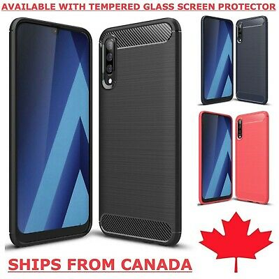 For Samsung Galaxy A20 A50 A70 Case Carbon Fibre TPU Heavy Duty Armour  Cover