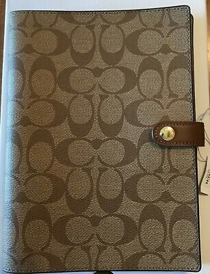COACH Notebook in Signature Canvas w/ Leather Details Khaki F67143 Unlined Pages