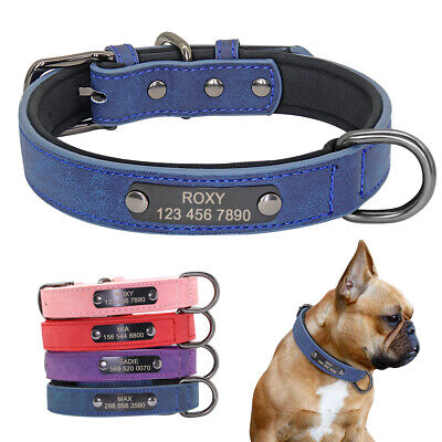 Personalized Dog Collar Leather Small Pet Collars Free Engraved ID Tag XS S M L