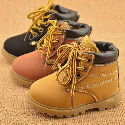 2017 Baby Kids Boy Girl PU Leather   Snow Boots Fur Lined Winter Warm Shoes !