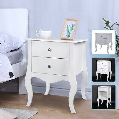 New 1 2 3 White / Gray Drawers Bedside Chest Side Table Nightstand Cabinet