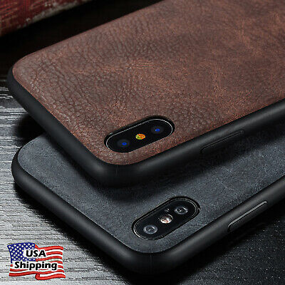 For iPhone XS/X 6s Plus Leather Back Ultra Thin Slim Hard Hybrid TPU Case Cover