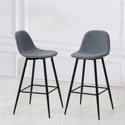 2x Grey Fabric Barstools Metal Leg Breakfast Pub Chair Kitchen Bar Furniture