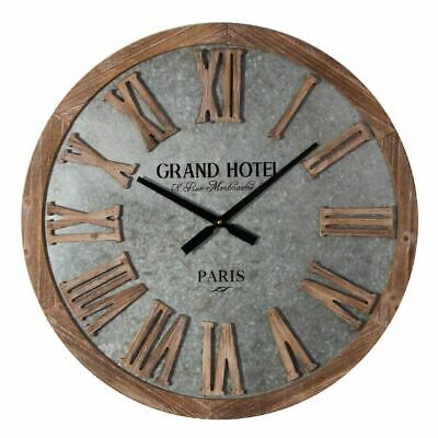 Extra Large Wooden Wall Clock with Silver Galvanised Metal Face 62cm