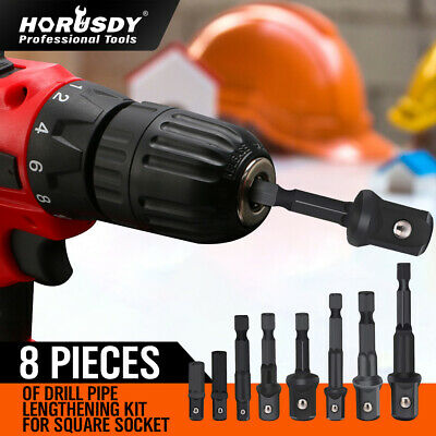 """8Pc Drill Socket Adapter Set Impact Nut Driver Hex Extension Bits 1/4"""" 3/8"""" 1/2"""""""