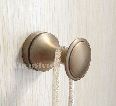 Bathroom Robe Hook Hanger Wall Mounted Solid Antique Brass Single Round Hangers