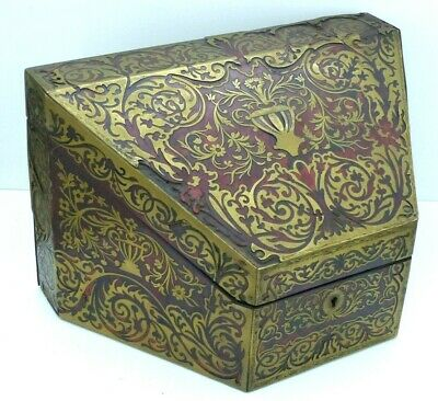 RARE Antique 19th Century Boulle faux Tortoiseshell Box / Casket - Halstaff & Ha