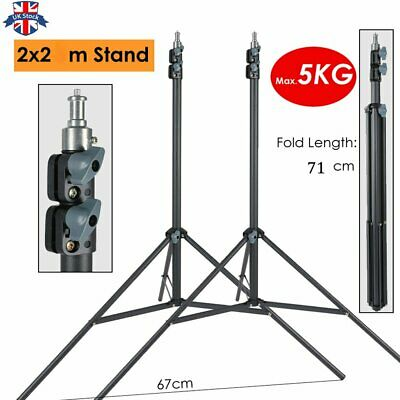 UK 2pcs 2m Heavy Duty Photography Light Stands Max Load 5KG Support Tripod