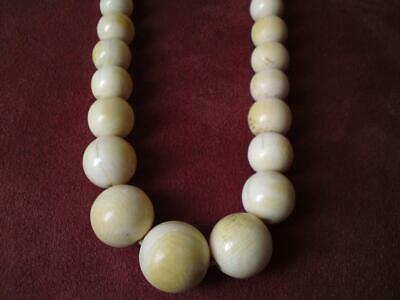 Antique Indian Chinese Asian 1920s graduated carved 100 bead ball long necklace