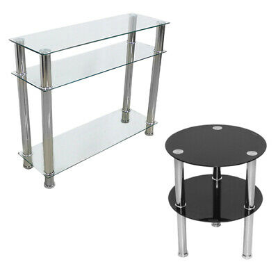 Glass Console Table Clear Black Chrome Legs 2/3 Tier Hall Side End Coffee Table