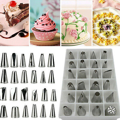 24Pcs Icing Piping Nozzles Pastry Tips Cake Sugarcraft Decorating Bakery Tools U