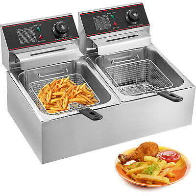 12L Stainless Commercial Fryer Electric Twin Basket 5000W Double Tank Fish Chips