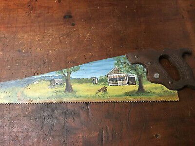"""Hand Painted Folk Art Disston Hand Saw """"Outback Farm Scene, Out House, Wagon"""""""