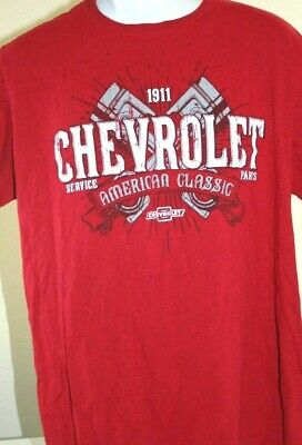 GM Chevrolet Chevy Mens Large Red American Classic Pistons 1911 Parts T-Shirt T9
