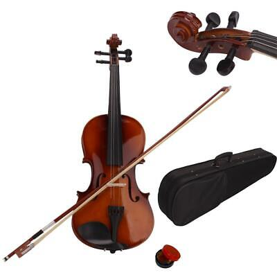 1/8 Size Acoustic Violin Fiddle Set + Case Bow Rosin for Students Beginners
