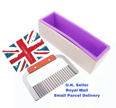Soap Making Silicone Mould in Wood Box with Soap Cutter Stainless Steel/Wood