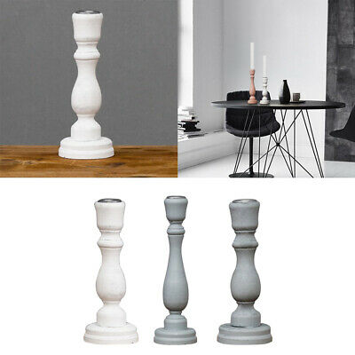3x Pillar Candlestick Decoration Art Crafts Candle Holder with Candle Plate